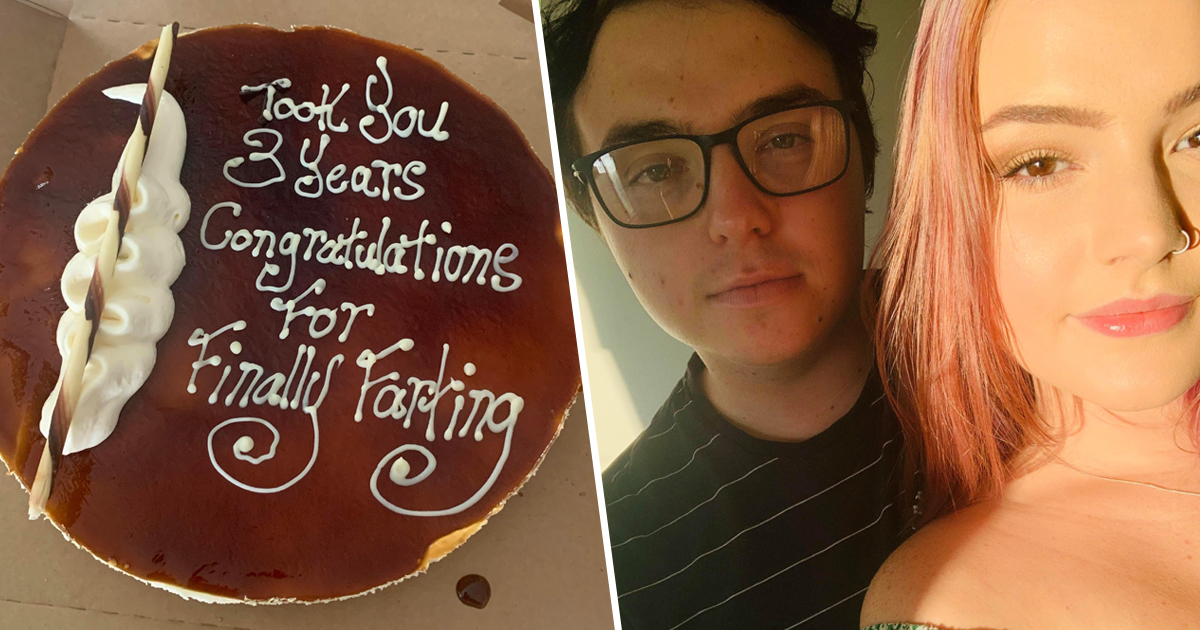 guy buys girlfriend congratulations cake for farting 1