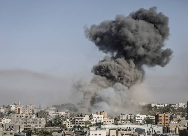 An image of an explosion in Gaza (PA Images)