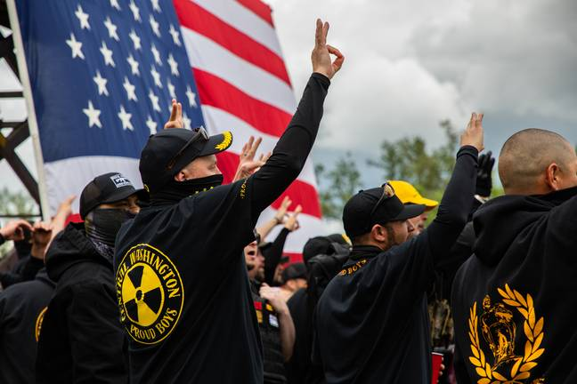 Proud Boys members at an Oregon rally. (PA Images)