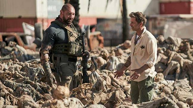 Zack Snyder and Dave Bautista on Army of the Dead. (Netflix)